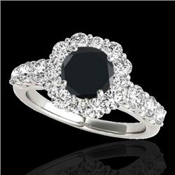 2.9 CTW Certified VS Black Diamond Solitaire Halo Ring 10K White Gold - REF-122N5A - 33394