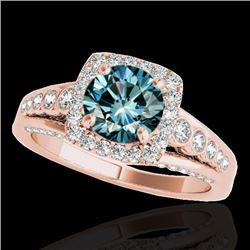 2 CTW SI Certified Blue Diamond Solitaire Halo Ring 10K Rose Gold - REF-247Y3X - 34325