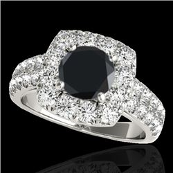 2.5 CTW Certified VS Black Diamond Solitaire Halo Ring 10K White Gold - REF-126N2A - 33646