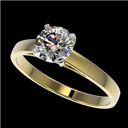 0.99 CTW Certified H-SI/I Quality Diamond Solitaire Engagement Ring 10K Yellow Gold - REF-199A5V - 3