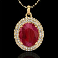 4.50 CTW Ruby & Micro Pave VS/SI Diamond Certified Necklace 18K Yellow Gold - REF-120M9F - 20572