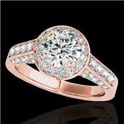 2.56 CTW H-SI/I Certified Diamond Solitaire Halo Ring 10K Rose Gold - REF-392R7K - 34052