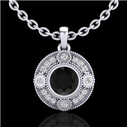 1.01 CTW Fancy Black Diamond Solitaire Art Deco Stud Necklace 18K White Gold - REF-69X3R - 37702