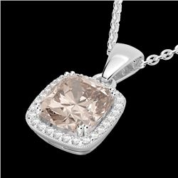3 CTW Morganite & Micro VS/SI Diamond Pave Halo Necklace 18K White Gold - REF-71M5F - 22826