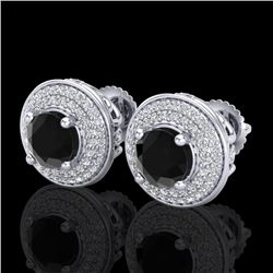 2.35 CTW Fancy Black Diamond Solitaire Art Deco Stud Earrings 18K White Gold - REF-154X5R - 38129