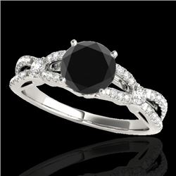 1.35 CTW Certified VS Black Diamond Solitaire Ring 10K White Gold - REF-63M3F - 35226