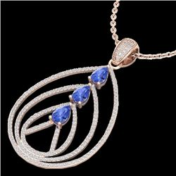 2 CTW Tanzanite & Micro VS/SI Diamond Certified Designer Necklace 14K Rose Gold - REF-116M4F - 22474