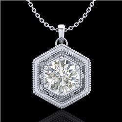 0.76 CTW VS/SI Diamond Solitaire Art Deco Stud Necklace 18K White Gold - REF-178N2A - 36902