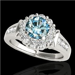 1.90 CTW SI Certified Fancy Blue Diamond Solitaire Halo Ring 10K White Gold - REF-206A4V - 34297