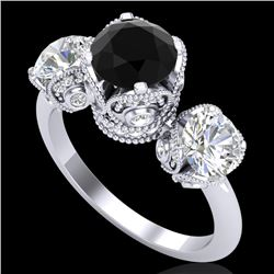 3 CTW Fancy Black Diamond Solitaire Art Deco 3 Stone Ring 18K White Gold - REF-318V2Y - 37429