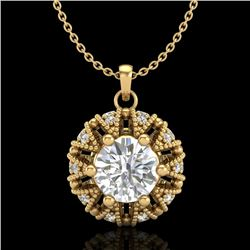 1.20 CTW VS/SI Diamond Art Deco Micro Pave Stud Necklace 18K Yellow Gold - REF-220H2M - 37000