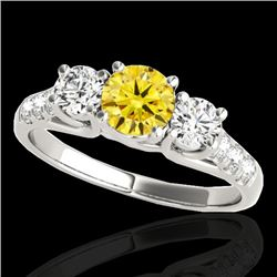 3.25 CTW Certified SI/I Fancy Intense Yellow Diamond 3 Stone Ring 10K White Gold - REF-394X5R - 3545