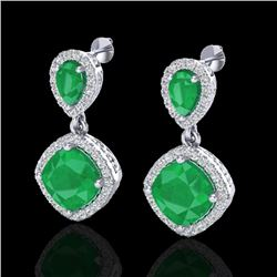 7 CTW Emerald & Micro Pave VS/SI Diamond Earrings Designer Halo 10K White Gold - REF-107A3V - 20205