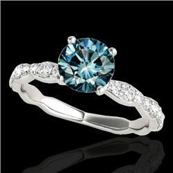 1.40 CTW SI Certified Fancy Blue Diamond Solitaire Ring 10K White Gold - REF-156N4A - 34876