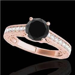 1.32 CTW Certified VS Black Diamond Solitaire Ring 10K Rose Gold - REF-57A3V - 34947