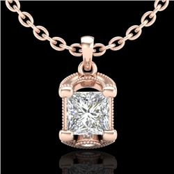 1.25 CTW Princess VS/SI Diamond Solitaire Art Deco Necklace 18K Rose Gold - REF-315F2N - 37155