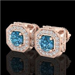 2.75 CTW Fancy Intense Blue Diamond Art Deco Stud Earrings 18K Rose Gold - REF-290R9K - 38287