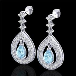 2.25 CTW Aquamarine & Micro Pave VS/SI Diamond Earrings Designer 14K White Gold - REF-103M3F - 23145