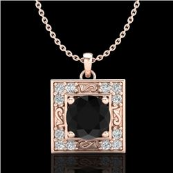 1.02 CTW Fancy Black Diamond Solitaire Art Deco Stud Necklace 18K Rose Gold - REF-70R9K - 38165