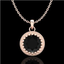 1 CTW Fancy Black Diamond Solitaire Art Deco Stud Necklace 18K Rose Gold - REF-50M9F - 37486