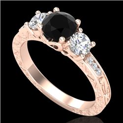 1.41 CTW Fancy Black Diamond Solitaire Art Deco 3 Stone Ring 18K Rose Gold - REF-138W2H - 37759