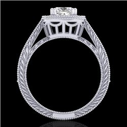 1.77 CTW Cushion VS/SI Diamond Solitaire Art Deco Ring 18K White Gold - REF-445F5N - 37031