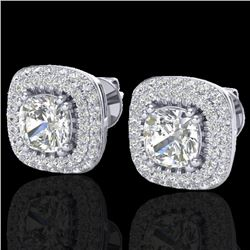 2.16 CTW Micro Pave VS/SI Diamond Earrings Solitaire Double Halo 18K White Gold - REF-250K2W - 20342