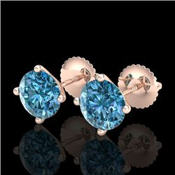 2.5 CTW Fancy Intense Blue Diamond Art Deco Stud Earrings 18K Rose Gold - REF-354R5K - 38252