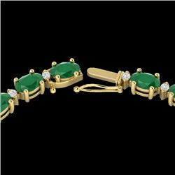35 CTW Emerald & VS/SI Diamond Certified Eternity Tennis Necklace 10K Yellow Gold - REF-200F7N - 215