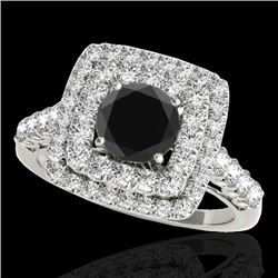 2.3 CTW Certified VS Black Diamond Solitaire Halo Ring 10K White Gold - REF-118R5K - 34597