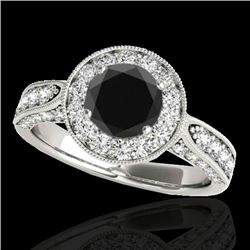 2 CTW Certified VS Black Diamond Solitaire Halo Ring 10K White Gold - REF-107M5F - 34498