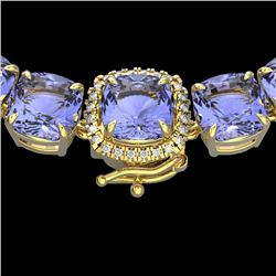 100 CTW Tanzanite & VS/SI Diamond Halo Micro Necklace 14K Yellow Gold - REF-1345N3A - 23363