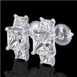 3.08 CTW Princess VS/SI Diamond Art Deco Stud Earrings 18K White Gold - REF-630N2A - 37199