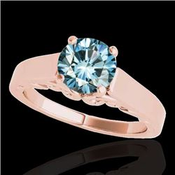1 CTW SI Certified Fancy Blue Diamond Solitaire Ring 10K Rose Gold - REF-160X2R - 35143