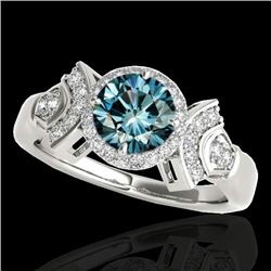 1.56 CTW SI Certified Fancy Blue Diamond Solitaire Halo Ring 10K White Gold - REF-209F3N - 34333