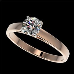 0.77 CTW Certified H-SI/I Quality Diamond Solitaire Engagement Ring 10K Rose Gold - REF-97X5R - 3648