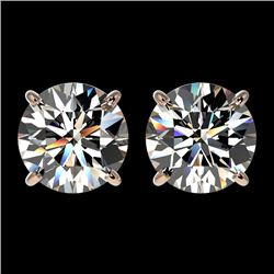 2.57 CTW Certified H-SI/I Quality Diamond Solitaire Stud Earrings 10K Rose Gold - REF-435R2K - 36678