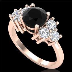 2.1 CTW Fancy Black Diamond Solitaire Engagement Classic Ring 18K Rose Gold - REF-154A5V - 37605