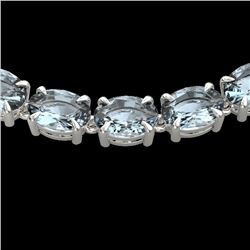 45 CTW Aquamarine Eternity Designer Inspired Tennis Necklace 14K White Gold - REF-418H5M - 23398