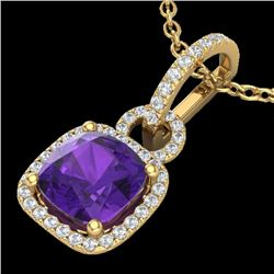 3.50 CTW Amethyst & Micro VS/SI Diamond Certified Necklace 18K Yellow Gold - REF-63K5W - 22977