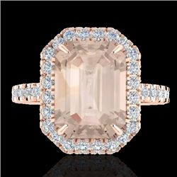 4.50 CTW Morganite & Micro Pave VS/SI Diamond Halo Ring 14K Rose Gold - REF-91Y6X - 21430