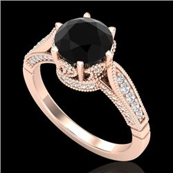 2.2 CTW Fancy Black Diamond Solitaire Engagement Art Deco Ring 18K Rose Gold - REF-141F8N - 38088