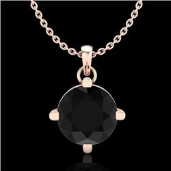 1 CTW Fancy Black Diamond Solitaire Art Deco Stud Necklace 18K Rose Gold - REF-48N2A - 38074