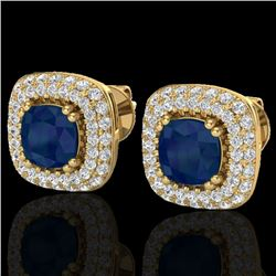 2.16 CTW Sapphire & Micro VS/SI Diamond Earrings Double Halo 18K Yellow Gold - REF-105X6R - 20349