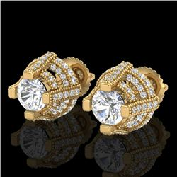 2.75 CTW VS/SI Diamond Micro Pave Stud Earrings 18K Yellow Gold - REF-320Y2X - 36952