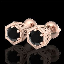 1.15 CTW Fancy Black Diamond Solitaire Art Deco Stud Earrings 18K Rose Gold - REF-68M2F - 38039