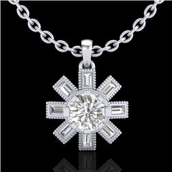 1.33 CTW VS/SI Diamond Solitaire Art Deco Stud Necklace 18K White Gold - REF-220N9A - 37067