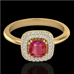 1.16 CTW Ruby & Micro Pave VS/SI Diamond Ring Double Halo 18K Yellow Gold - REF-70N9A - 21034