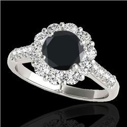 2.75 CTW Certified VS Black Diamond Solitaire Halo Ring 10K White Gold - REF-119R6K - 33430