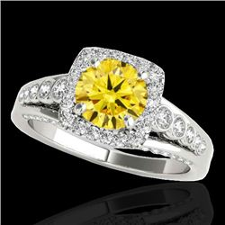 2 CTW Certified SI/I Fancy Intense Yellow Diamond Solitaire Halo Ring 10K White Gold - REF-309R3K -